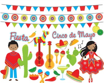 Fiesta clipart - Mexican fiesta cinco de mayo flags, dancing, pinata, guitars, cactus, cacti, garland, party for personal and commercial use