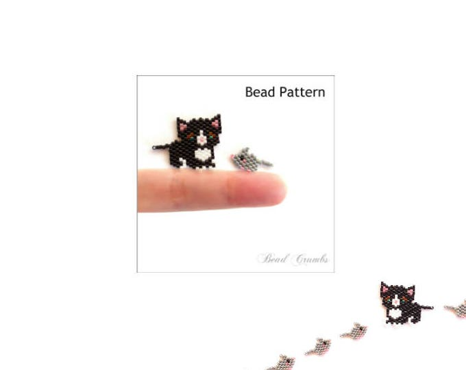 Black & White Tuxedo Cat, Gray Mouse Beading Pattern, Brick Stitch or Peyote Stitch Bead Weaving, Cute Animal Charms