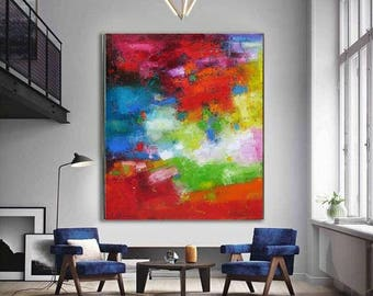 "XL Bold Bright red Green Blue Abstract oil on canvas original art for spectacular interiors Large Abstract painting oil on canvas 31""x37"""
