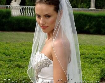 Designer One Tier Embroided Bridal Wedding Veil Fingertip Style VE315 NEW CUSTOM VEIL