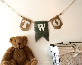 Birthday Burlap Banner for Two (or One) Year Old in Sage and Caramel Colors for Boy or Girl