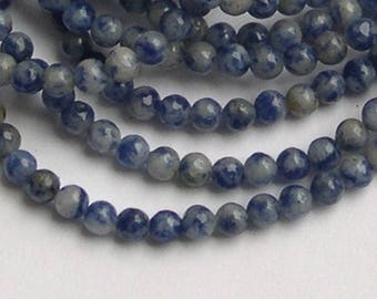 Set of 90 beads 4 mm blue and white Sodalite stone