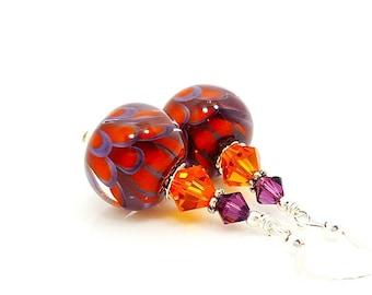 Purple Orange Earrings, Lampwork Earrings, Glass Earrings, Glass Bead Earrings, Unusual Earrings, Lotus Flower Earrings, Unique Earring
