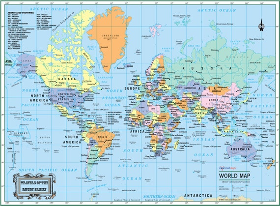 World wall map political poster 22x17 or gumiabroncs Images
