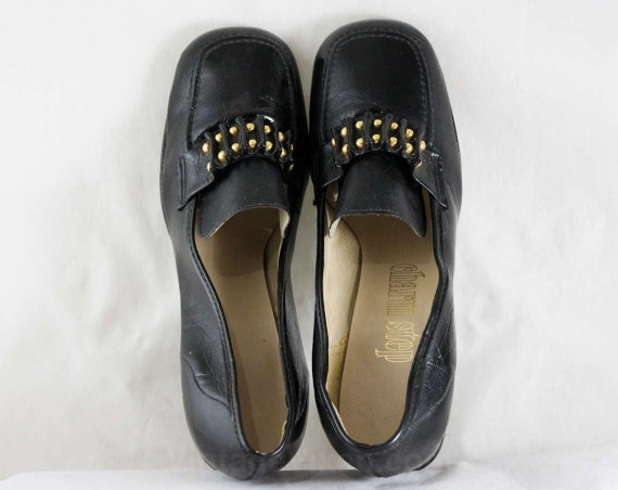 Look Shoes Detail Pumps Ribbon Charm Vinyl 6 Candy 1 Black Width Step 1960s Studded Slick 46994 Size 60s NOS Wide Wet Deadstock qnzAEZnw