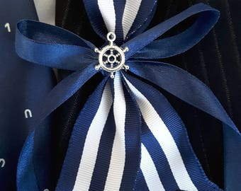 Rudder lapel pin, Nautical silver and navy blue boutonniere,  Beach wedding,  Yacht wedding