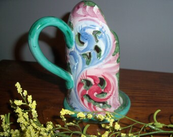 Vintage Pottery Candle Holder Handle Green from Italy