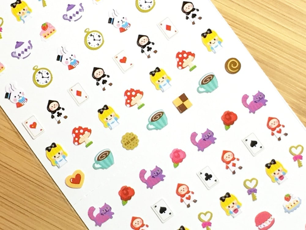 Alice in Wonderland Mini Deco Stickers (1 sheet) Korean Stationery ...