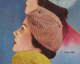 Three Berets from Bestway, c. 1950s  - Vintage Knitting Pattern booklet PDF (505)