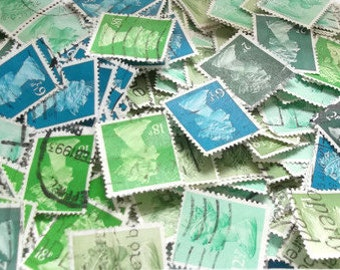 Green & turquoise blue stamp mix - used British Machin postage stamps, postal ephemera - crafting, collage, decoupage, upcycling supplies