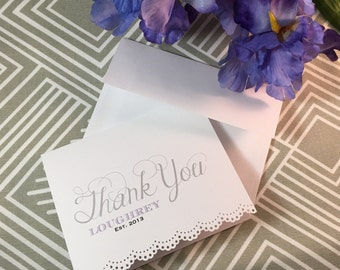 Personalized Bridal Shower Thank You Cards with Lace Trim - Made to Order