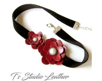 Red Leather Flower Choker Necklace - Black Velvet - CHOOSE YOUR COLORS