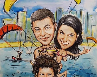 Family caricature, family portrait, handmade caricature, caricature from photo