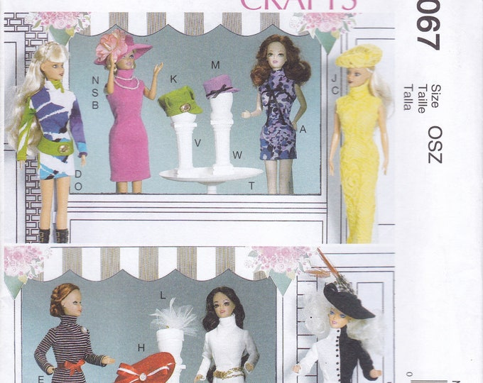 "FREE US SHIP McCall's 7067 Out of Print  11 1/2"" Fashion Doll Barbie Size Clothes Sewing Pattern Retro Uncut New Dress Hats"