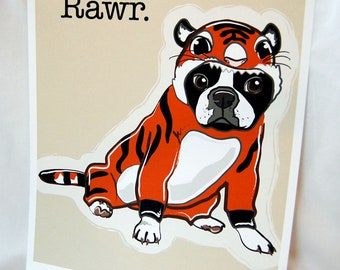 Boston Terrier Tiger - 8x10 Eco-friendly Print