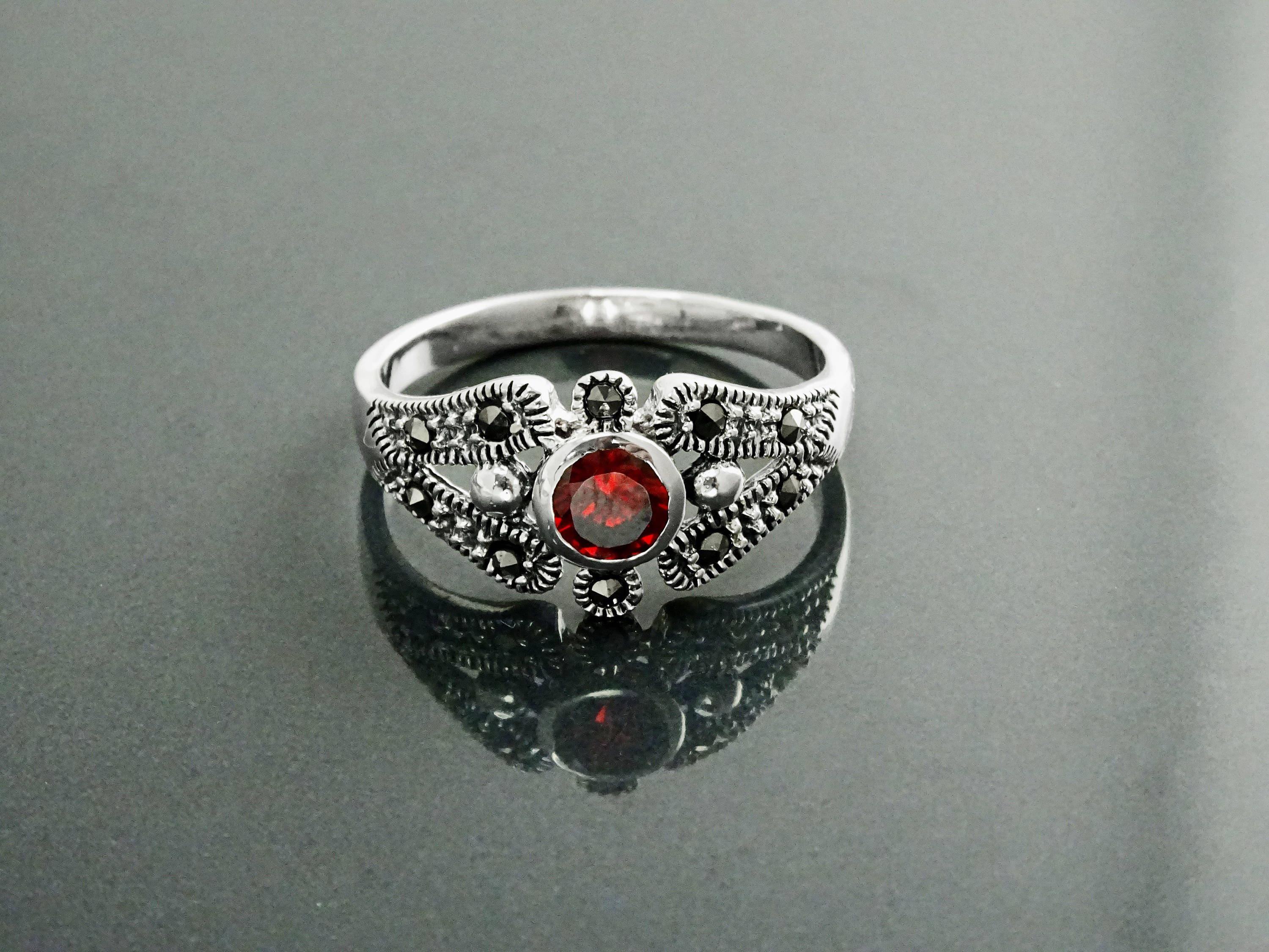 leaf and jngk il fullxfull deco size ring carnelian rings with flower sterling red accents cocktail art statement p gemstone silver marcasite vintage
