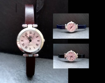 Leather watch, watch, watch, women's Watch, silver, leather, colours, Brown, black, blue