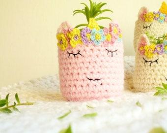 Unicorn Planter - Unicorn Vase - Pink Unicorn Head - Crochet Unicorn Head - Unicorn Lover - Unicorn Gift - Gift for Her - Gift for Sister