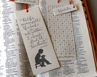 LETTERPRESS BOOKMARK - But for my own part, if a book is well written... Jane Austen