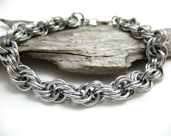 "1/4"" Silver Double Spiral Chainmaille Bracelet"