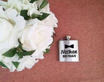 Hip flask, personalised hip flask, groom gift, best man hip flask, flask, etched flask, wedding hip flask, groomsman gift, wedding gift