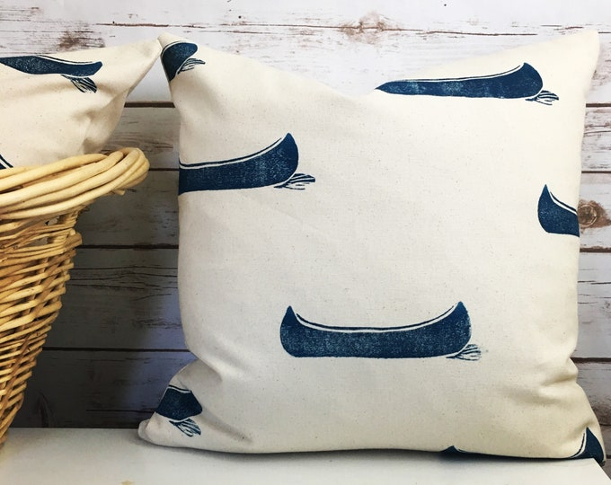 Custom order for nancy: Navy blue canoe pillow and navy blue canoe tea towel