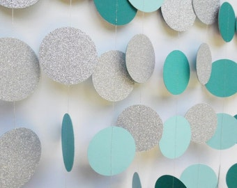 Silver Glitter and Turquoise Circle Garland, Paper Dot Garland, Party Decoration, Wedding Reception Decor, Bridal Shower Decoration
