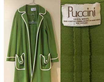 Vintage 60s Puccini Wool Two-Piece Suit in Green with White Piping size Large Petite