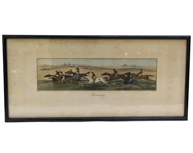 Antique Equestrian Art Print by James Pollard Entitled RUNNING. Horse Racing Framed Original Aquatint Engraving.