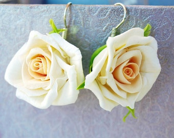 Ivory Rose Earrings, Flower Earrings, Floral Jewelry, Bridesmaid Ideas