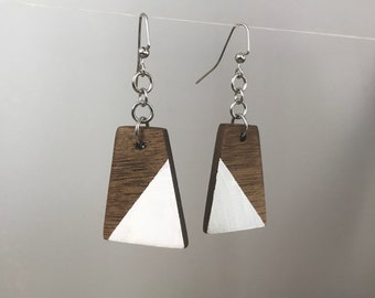 Small Dangling Walnut Natural Wood Earrings with White Accent - Lightweight