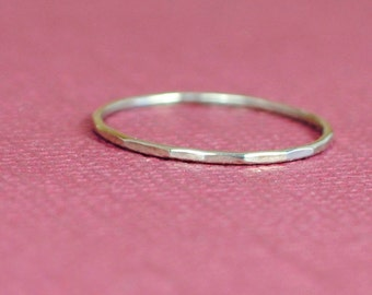 Solid White Gold Ring/Thin White Gold Ring/14k White Gold Ring/Tiny Gold Ring/Custom Teeny Weenie Slightly Beaten Ring*Solid 14k White Gold*