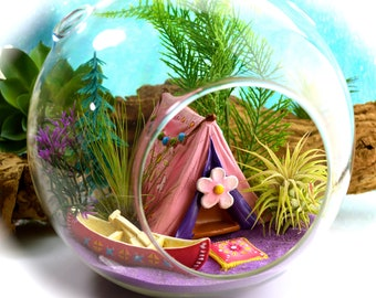 """Camping Terrarium Kit ~ 7"""" Air Plant Terrarium ~ Girly Camping Tent + Canoe ~ 2 live Air Plants ~ Pillow Color Choice ~ Gift for Her"""