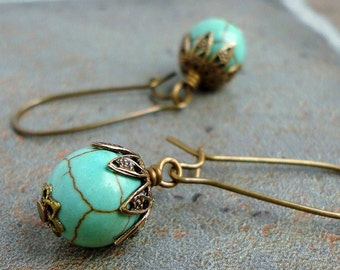 Teal Green Magnesite Earrings in Antiqued Brass, Semi Precious Gemstone Earrings, Handcrafted Jewelry