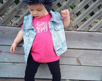 LOVE BUG - Baby's Tee Shirt - Size 6 mo - Toddler Raspberry Pink Lemonade Cotton Tshirt - Kids Shirt by DearSeed -Handlettered