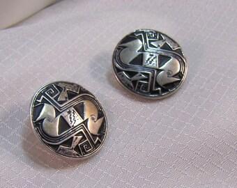 Vintage Native Alaskan Inspired Sterling Button Earrings