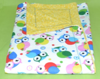 """Extra Large Receiving Blanket (42"""" X 30""""), Baby Blanket, Yellow and Owls, Flannel, Double Layered Reversible, Self Binding, Gender Neutral"""