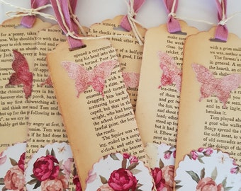 6 Shabby Chic book page bookmarks