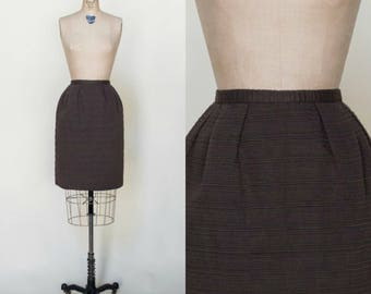 1960s Brown Skirt --- Vintage Pencil Skirt XS