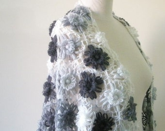 Shawl Grey Ivory Floral Shawl Soft Triangle Wrap Scarf Stole winter fashion. READY TO SHIPPING