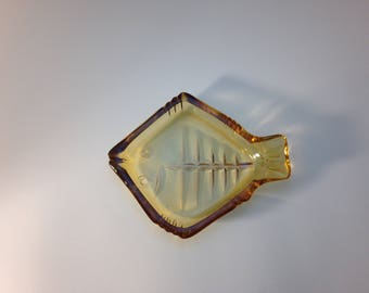 Yellow Retro Glass Fish Dish