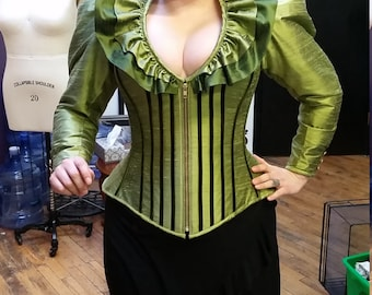 """High Collar Jacket Couture Corset Avant Garde Clothing Vampire Evil Queen Costume Maleficent Drag Queen """"Dragon Jacket""""  Custom to your size"""