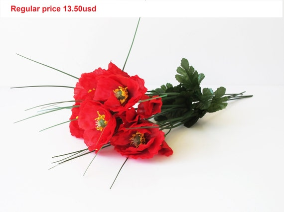 Grand sale 5 artificial flowers silk poppies branches windflower grand sale 5 artificial flowers silk poppies branches windflower bouquet anemone bush red green 17 poppy floral accessory faux fake buds from flowersfield mightylinksfo