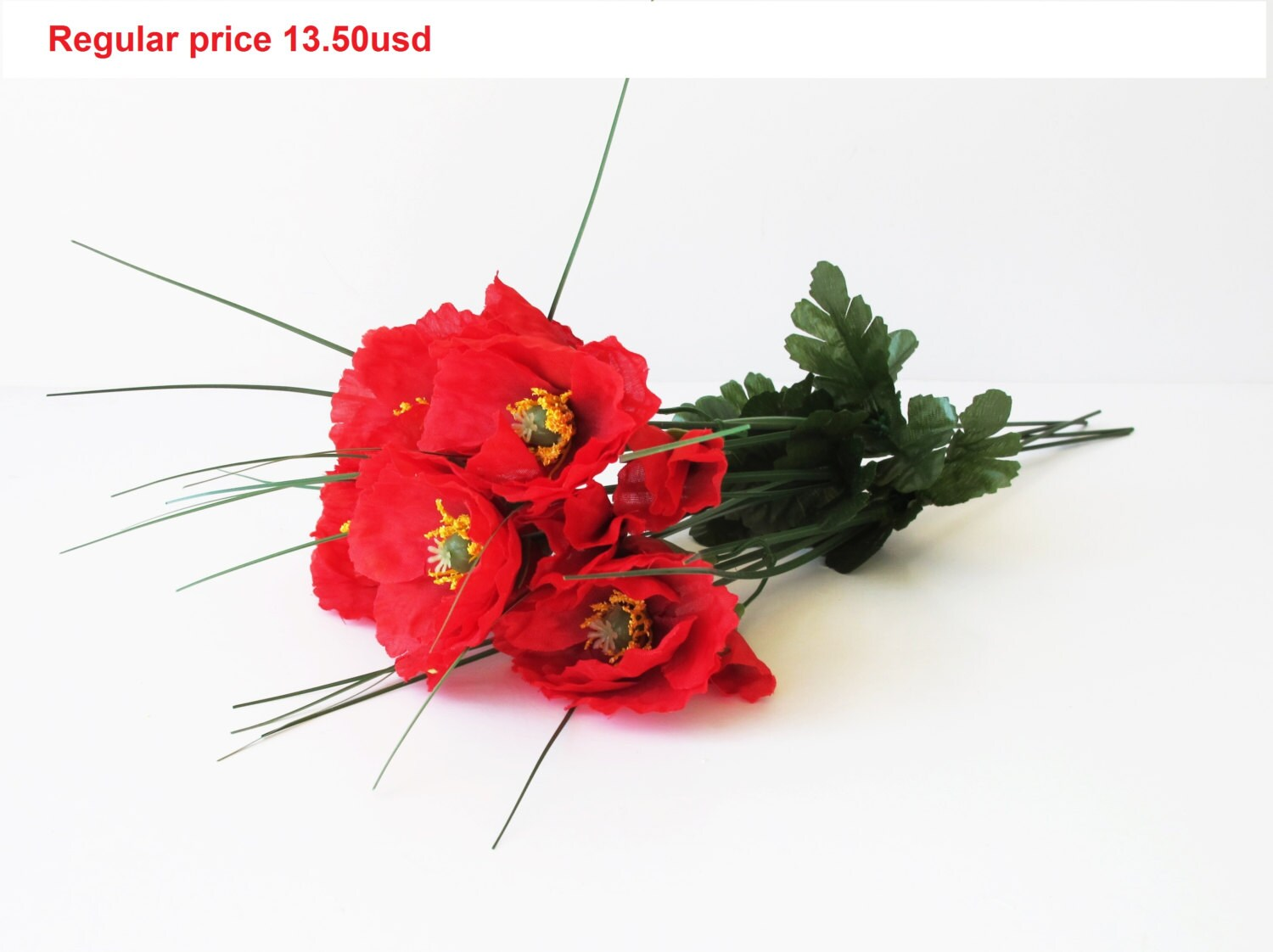 Grand Sale 5 Artificial Flowers Silk Poppies Branches Windflower