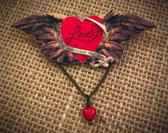 Memorable and affordable jewelry you love made by by fauxshowart angel wings pin love on the wing heart and wings valentines day pin negle Images