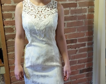 Gorgeous Scott McClintock  Ivory Brocade Formal Wedding Dress w/  Crop Jacket Second Marriage 90's