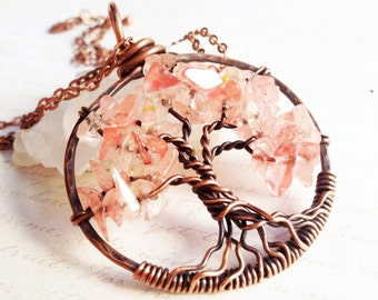 Tree of Life Necklace, Cherry Quartz Copper Wire Wrapped tree of life pendant, rich pink gemstone talisman, mother's day gift idea