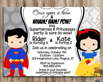 SUPERHERO and PRINCESS Double Birthday Invitation, Superhero & Princess Birthday Invite, YoU Choose, Digital Printable, 5 x 7 JPG File