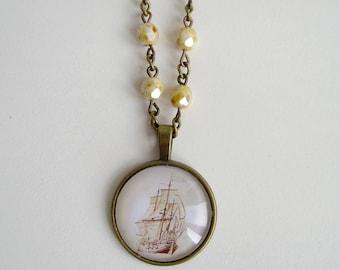 Ship cameo beaded necklace