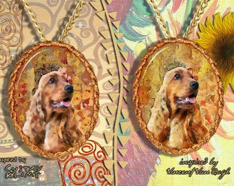 English Cocker Spaniel Jewelry Pendant - Brooch Handcrafted Porcelain by Nobility Dogs - Gustav Klimt and Van Gogh Style